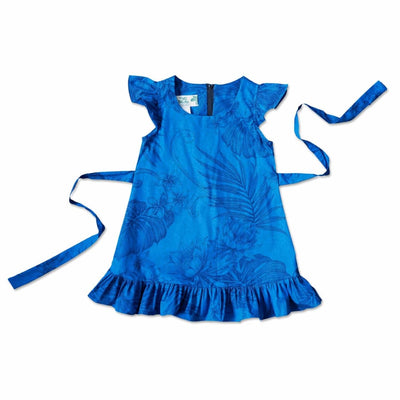 Monstera Cereus Blue Hawaiian Girl Cotton Dress - 1 / Blue - Girl's Hawaiian Dresses