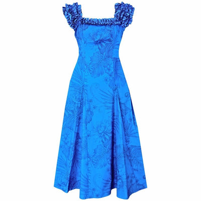 Monstera Cereus Blue Leilani Hawaiian Muumuu Dress - s / Blue - Women's Dress