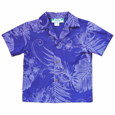 Monstera Cereus Purple Hawaiian Boy Shirt - 2 / Purple - Boy's Hawaiian Shirts