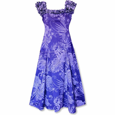 Monstera Cereus Purple Leilani Hawaiian Muumuu Dress - s / Purple - Women's Dress