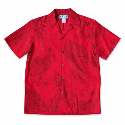 Monstera Cereus Red Hawaiian Cotton Shirt - s / Red - Men's Shirts