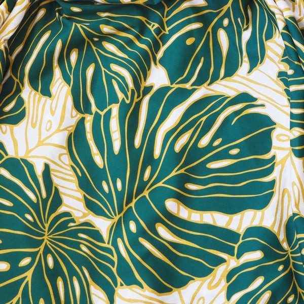 Monstera Dream Green Single Pau Hawaiian Hula Skirt - Pau Hula Skirt