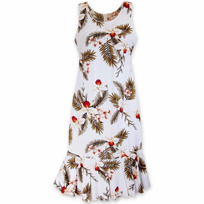 Moon White Hana Aloha Hawaiian Dress - s / White - Women's Dress