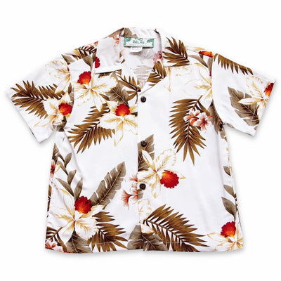 Moon White Hawaiian Boy Shirt - 2 / White - Boys Hawaiian Shirts