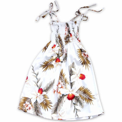 Moon White Sunkiss Hawaiian Girl Dress - S (2 - 4) / White - Girls Hawaiian Dresses