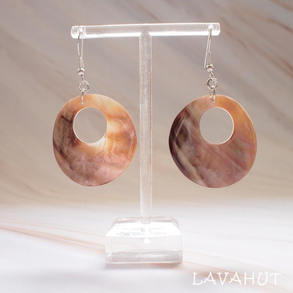 Mother Of Pearl Hoop Hawaiian Earrings - Earrings