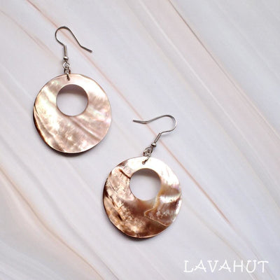 Mother Of Pearl Hoop Hawaiian Earrings - Bronze - Earrings
