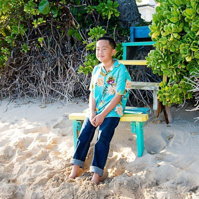 Mountain Green Hawaiian Boy Shirt - Boys Hawaiian Shirts
