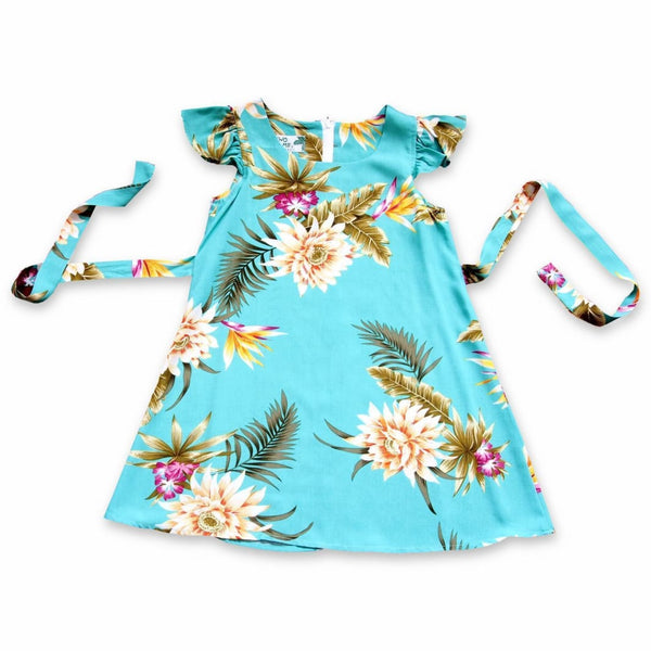 Mountain Green Hawaiian Girl Rayon Dress - Girls Hawaiian Dresses