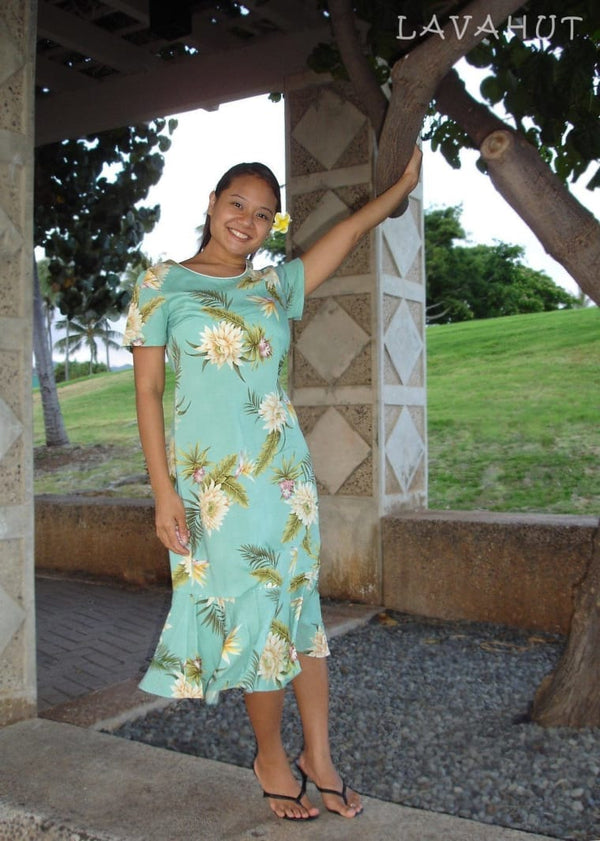 Mountain Green Laka Hawaiian Dress - Womens Dress