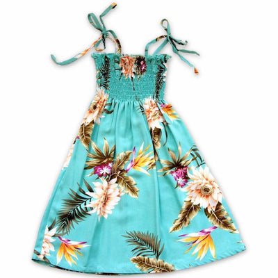 Mountain Green Sunkiss Hawaiian Girl Dress - S (2 - 4) / Green - Girls Hawaiian Dresses