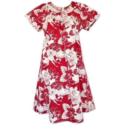 Orchid Blast Red Cotton Hawaiian Tea Muumuu Dress - Women's Dress