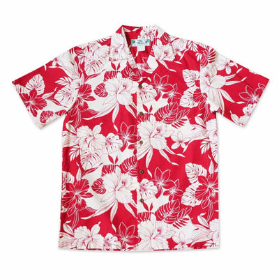 Orchid Blast Red Hawaiian Cotton Shirt - s / Red - Men's Shirts