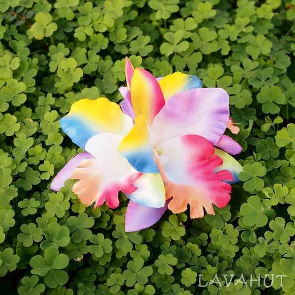 Orchid Blooms Rainbow Hawaiian Flower Hair Clip - Hair Accessories