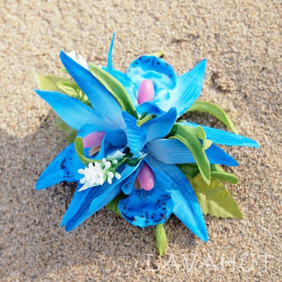 Orchid Burst Blue Hawaiian Flower Hair Clip - Blue - Hair Accessories