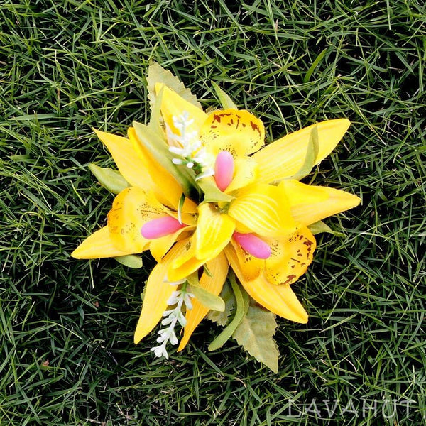 Orchid Burst Yellow Hawaiian Flower Hair Clip - Hair Accessories
