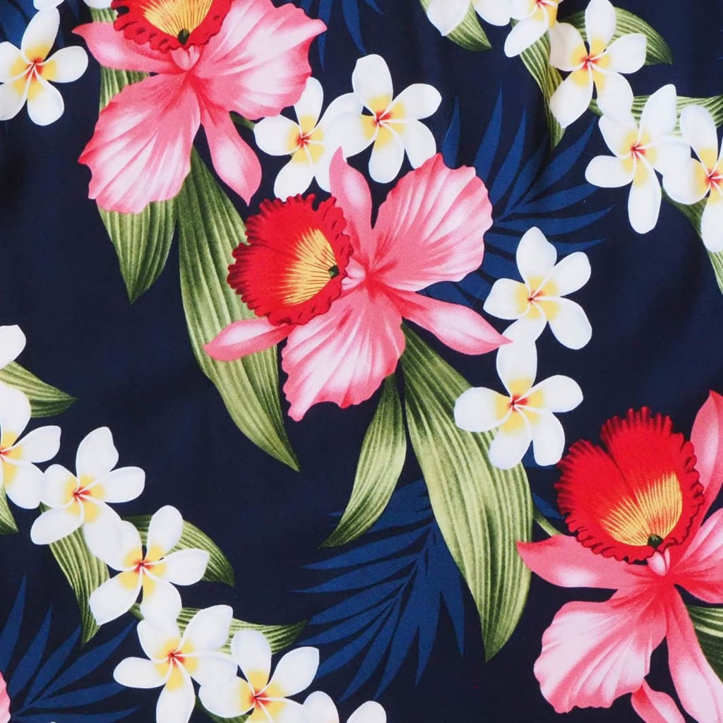 Orchid Play Blue Hawaiian Rayon Fabric By The Yard - Fabric