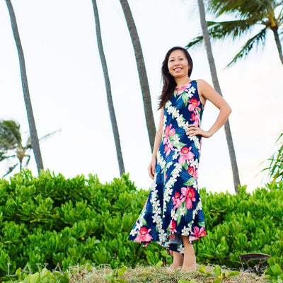 Orchid Play Blue Lehua Hawaiian Dress - Womens Dress