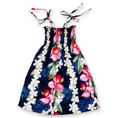 Orchid Play Blue Sunkiss Hawaiian Girl Dress - s (2 - 4) / Blue - Girl's Hawaiian Dresses