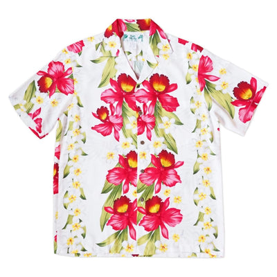 Orchid Play White Hawaiian Rayon Shirt - s / White - Men's Shirts