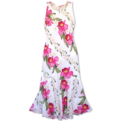 Orchid Play White Lehua Hawaiian Dress - Women's Dress