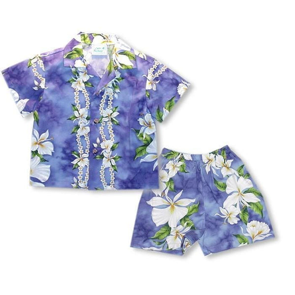 Orchid Purple Hawaiian Boy Shirt & Shorts Set - Boys Hawaiian Shirts