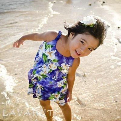 Orchid Purple Hawaiian Girl Cotton Dress - Girl's Hawaiian Dresses