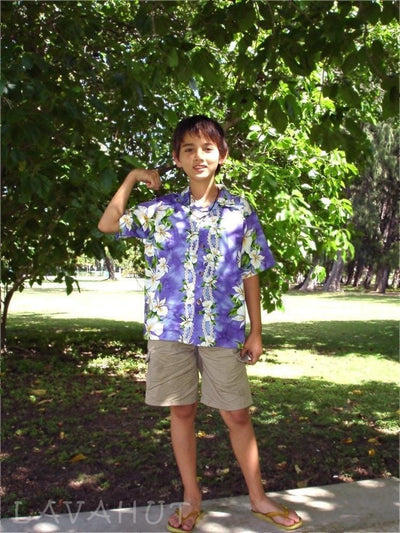 Orchid Purple Hawaiian Teen Shirt - Boy's Hawaiian Shirts