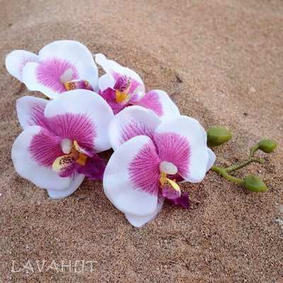 Orchid Purple/white Hawaiian Flower Hair Clip - White - Hair Accessories