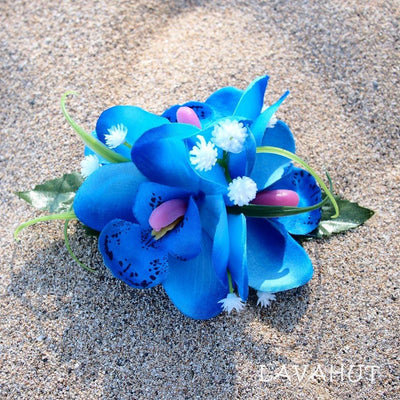 Orchid wonder Blue Hawaiian Flower Hair Clip - Blue - Hair Accessories
