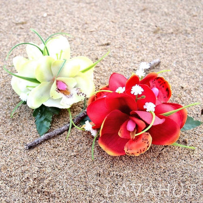 Orchid wonder Maroon Hawaiian Flower Hair Clip - Red - Hair Accessories