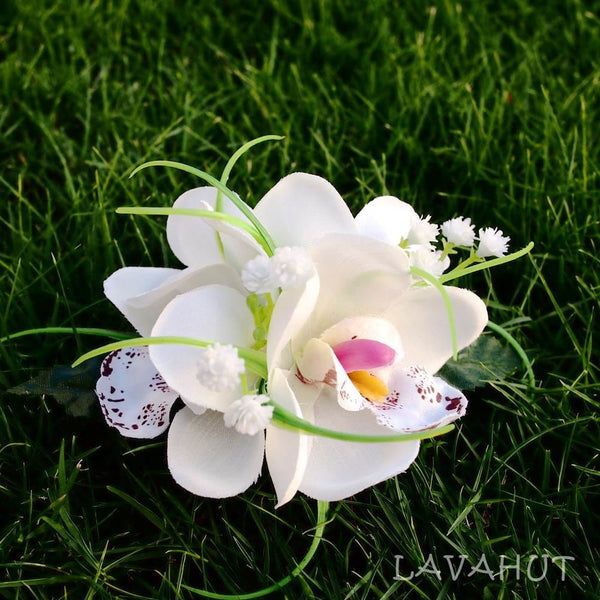 Orchid Wonder White Hawaiian Flower Hair Clip - Hair Accessories