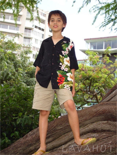 Paradise Black Hawaiian Teen Shirt - Boy's Hawaiian Shirts