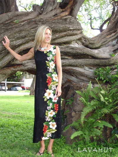Paradise Black Long Hawaiian Tank Dress - Women's Dress