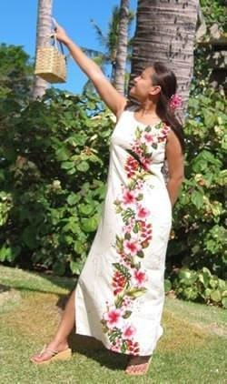 Paradise Cream Long Hawaiian Tank Dress - Womens Dress