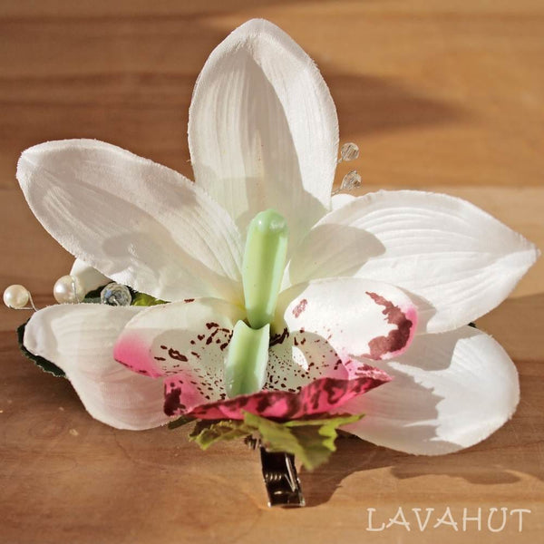 Paradise White Hawaiian Flower Hair Clip - Hair Accessories