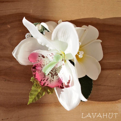 Paradise White Hawaiian Flower Hair Clip - White - Hair Accessories