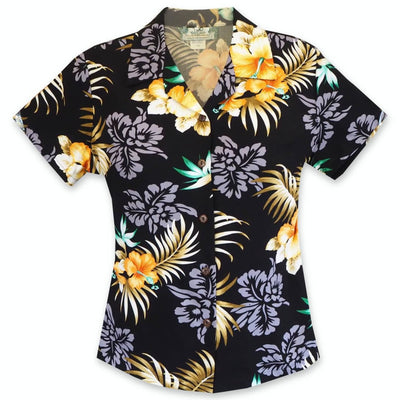 Passion Black Lady's Hawaiian Rayon Blouse - s / Black - Women's Blouses