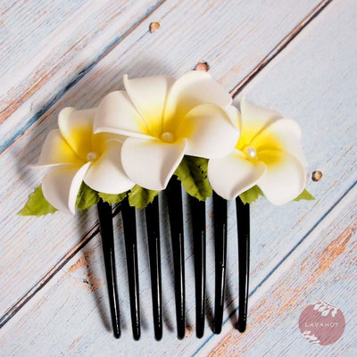 Pearls & Plumeria Hair Comb - White - Hair Accessories