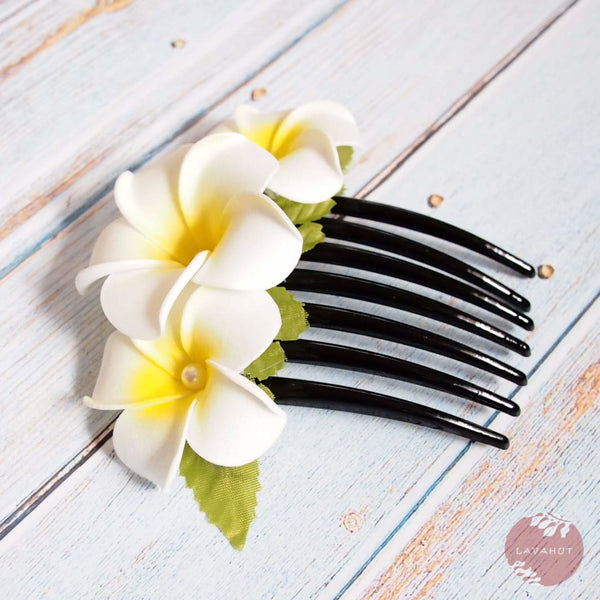 Pearls & Plumeria Hair Comb - Hair Accessories