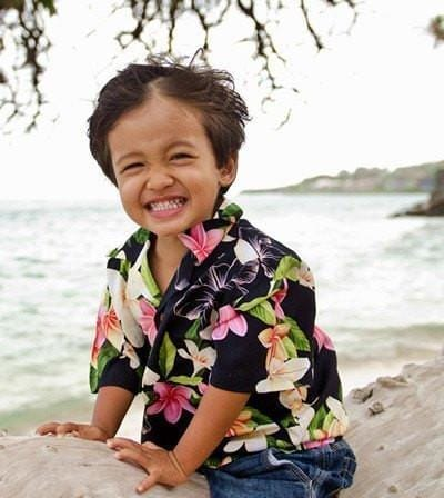 Pebble Black Hawaiian Boy Shirt - Boy's Hawaiian Shirts