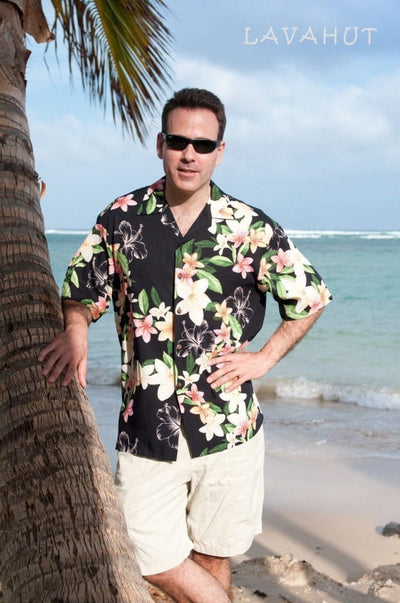 Pebble Black Hawaiian Rayon Shirt - Men's Shirts