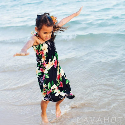 Pebble Black Sunkiss Hawaiian Girl Dress - Girl's Hawaiian Dresses