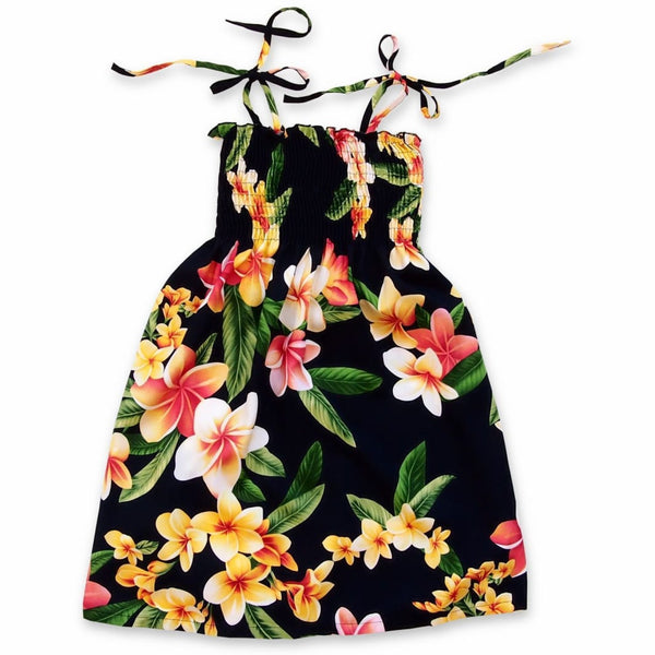Pebble Black Sunkiss Hawaiian Girl Dress - Girls Hawaiian Dresses