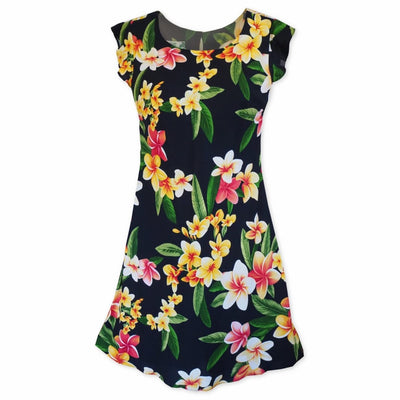 Pebble Black Xoxo Hawaiian Dress - S / Black - Womens Dress
