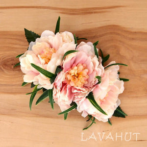 Peony Garden Orange Hawaiian Flower Hair Clip - Hair Accessories