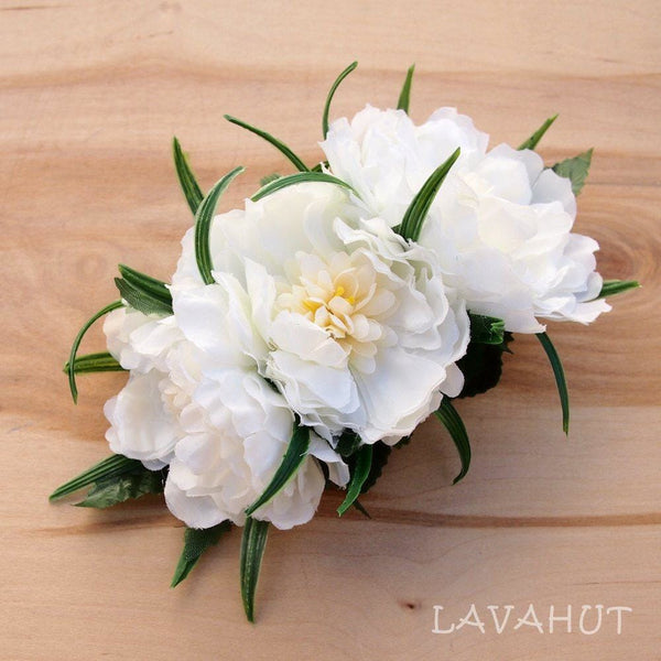 Peony Garden White Hawaiian Flower Hair Clip - Hair Accessories