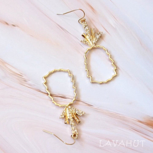 Pineapple Bling Bling Hawaiian Drop Earrings - Gold - Earrings