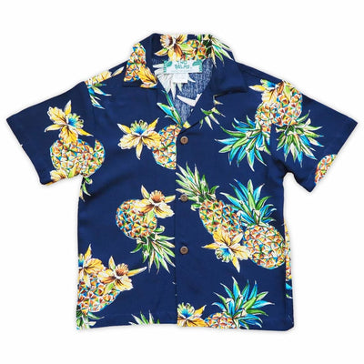 Pineapple Blue Hawaiian Boy Shirt - 1 / Blue - Boy's Hawaiian Shirts