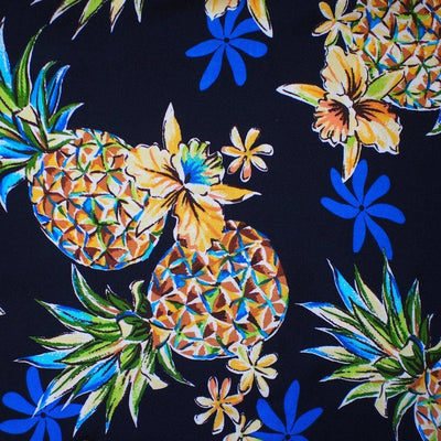 Pineapple Blue Hawaiian Rayon Fabric by the Yard - Blue - Fabric